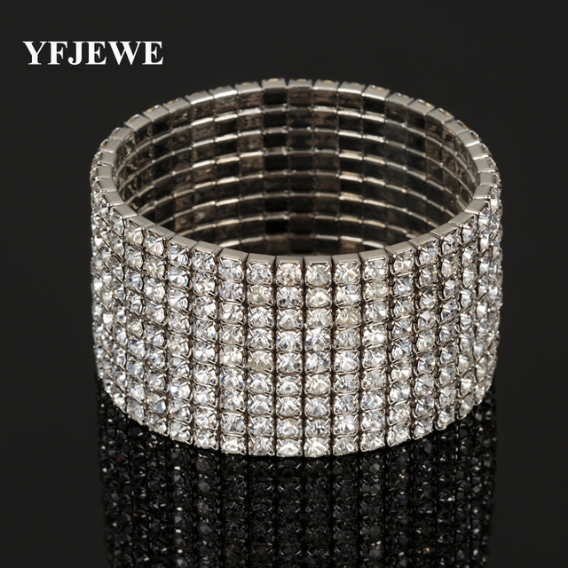 YFJEWE New Fashion Crystal Elasticity Big Bracelets for Women Gold and Silver 2