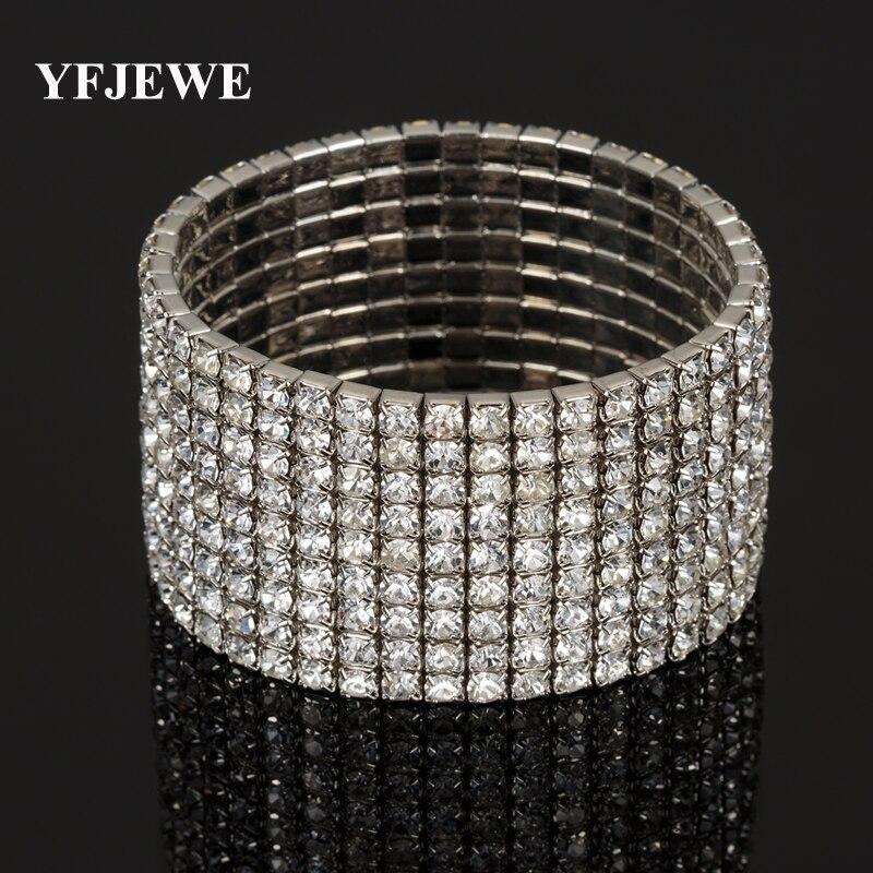 2x scintillant bling cristal strass bracelet bangle women bridal jewelry