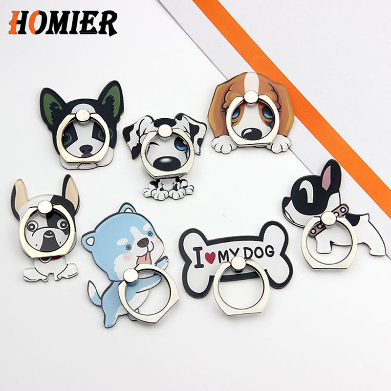 Universal Metal Popular Cute Dog Finger Ring Mobile Cell Phone Cartoon Phone Holder Stand For IPhone 6s 7 8 Plus Bracket Holder