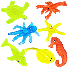TPR Soft Material Decompression Starfish Octopus Shark Toy Sticky Marine Animal Toys For Children'day Promotional Gifts