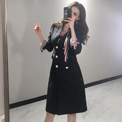 Larga Blazer Doble Mujer Rayas Usando A Sexy De Mujeres Vestido Oficina Vestidos Negocios Chaqueta Las Negro Manga Breasted 7wRZPqEn