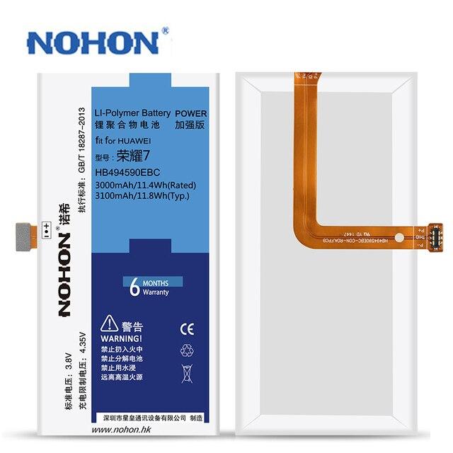 Original NOHON Battery Real Capacity 3000mAh ~ 3100mAh For Huawei Honor 7 HB494590EBC Repair Machine Tools Replacement Bateria
