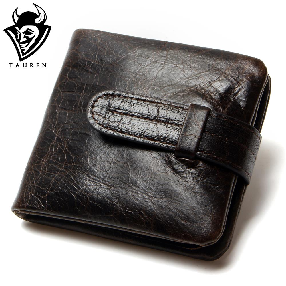 Luxury Vintage Casual 100 Real Genuine Cowhide Oil Wax Leather Men Short Bifold Wallet Wallets Purse