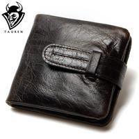 Luxury Vintage Casual 100 Real Genuine Cowhide Oil Wax Leather Men Short Bifold Wallet Wallets Purse