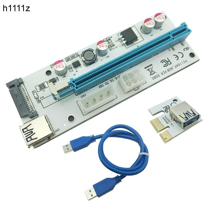 Nuevo blanco pci-e Riser 008 expreso 1X 4x 8x 16x extender PCI e USB Riser 008 s tarjeta de adaptador SATA 15pin para BTC minería minero USB3.0