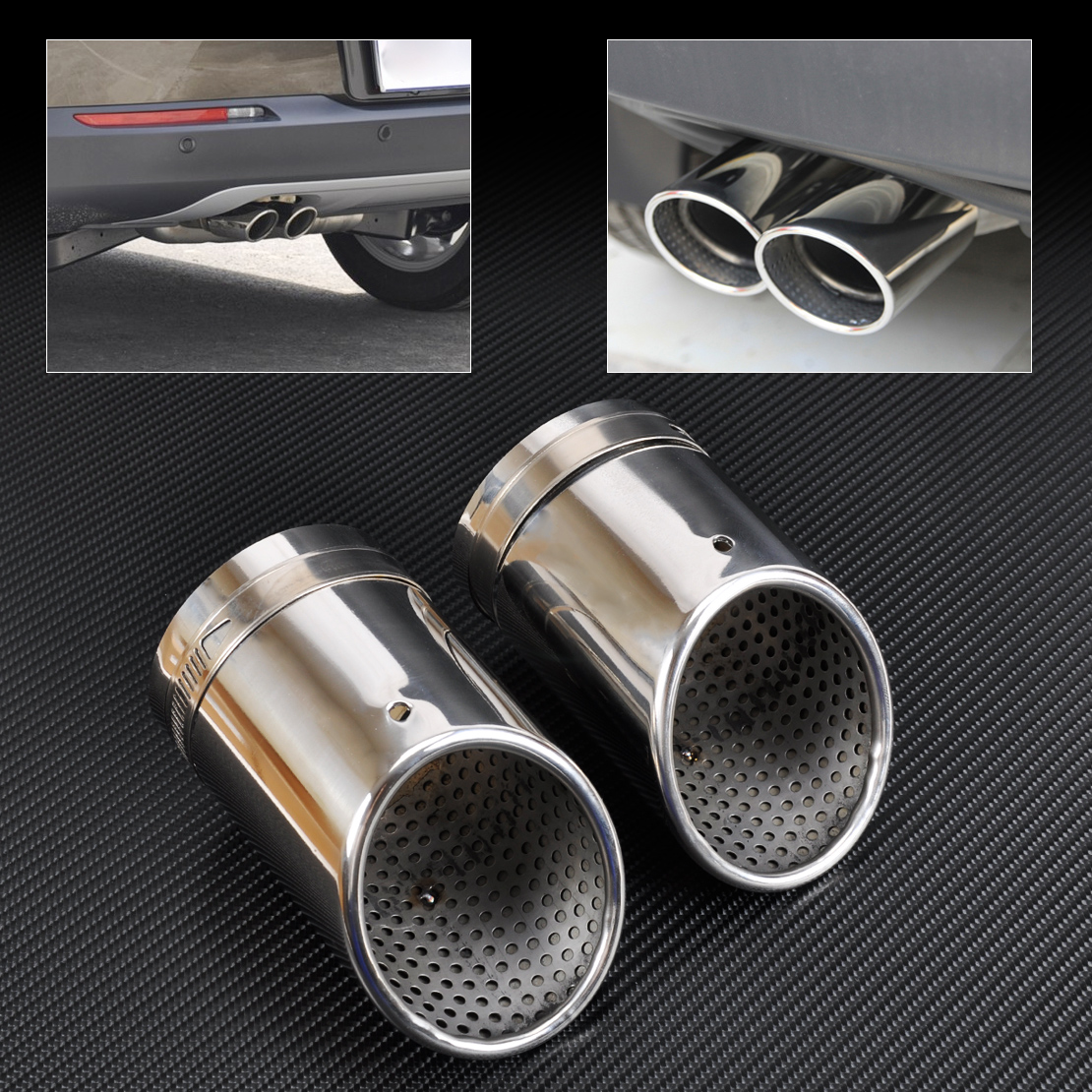 DWCX 2X STAINLESS STEEL EXHAUST TAIL REAR MUFFLER TIP PIPE TAILPIPE For VW Passat B6 2006 - 2009 2010 CC Free Shipping
