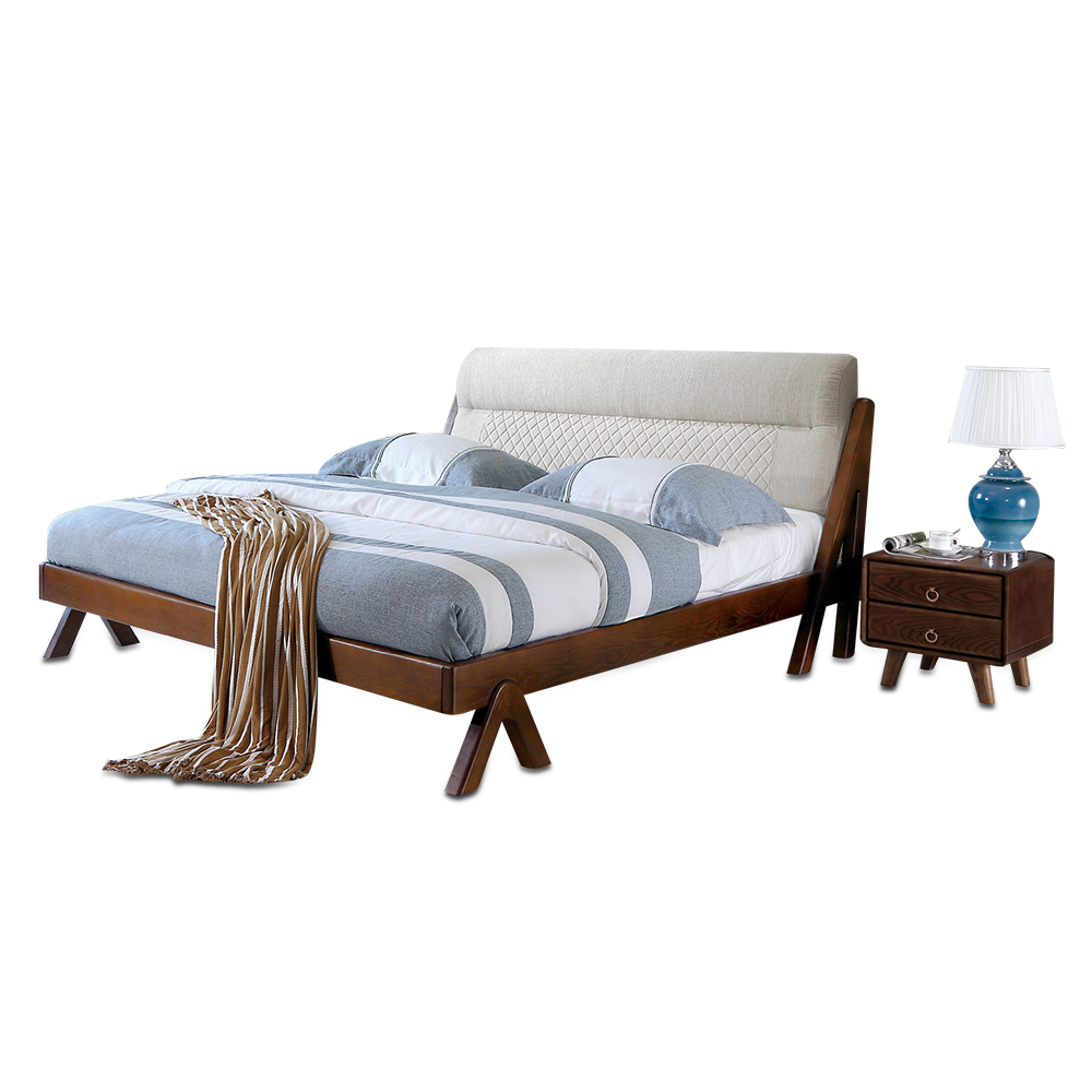 1128H301F Ash solid wood Modern Fashion king size soft bed-rest stable with Ranked skeleton bed frame