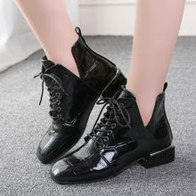 цены 2019 Women Boots Designer Furry Ankle Boots Shiny Leather Botines Mujer Lace Up Block Heels Winter Shoes Zapatos Plus Size 42