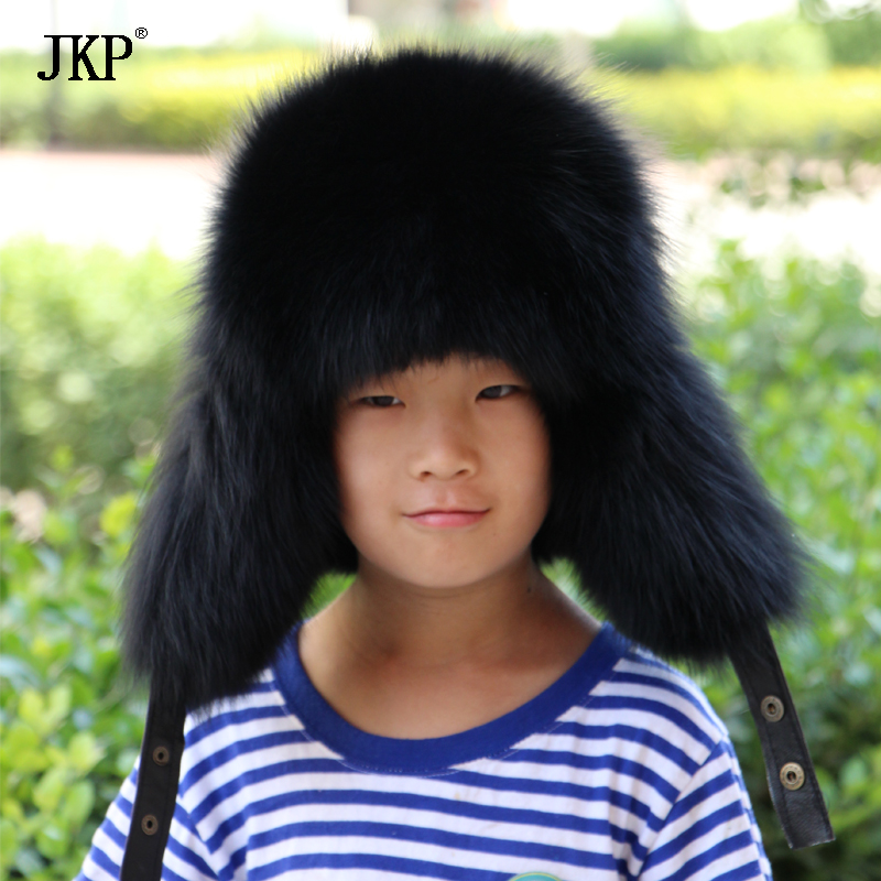 Genuine Children Real Fox Fur Hats Boys Girls Real Raccoon Fur Cap for Russian Kids Warm Ears Hat Bomber Leather Top new autumn winter warm children fur hat women parent child real raccoon hat with two tails mongolia fur hat cute round hat cap