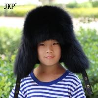 Genuine Children Real Fox Fur Hats Boys Girls Real Raccoon Fur Cap For Russian Kids Warm