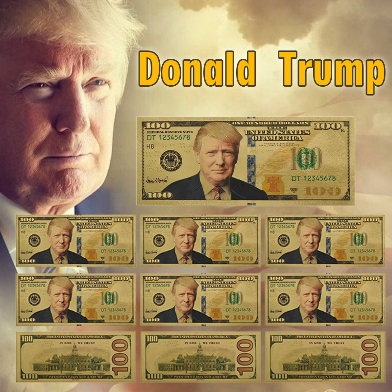 Trump Gold Plated Fake Money 10pcs Unique America One Million Dollar Banknote Paper Money Business Gifts For Christmas image