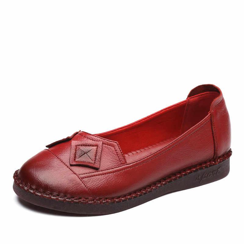 CEYANEAO 2018 Frühling herbst Neue Mode Frau Echtem Leder Flache Schuhe Frauen Handgemachte Weiche Komfortable Freizeitschuhe