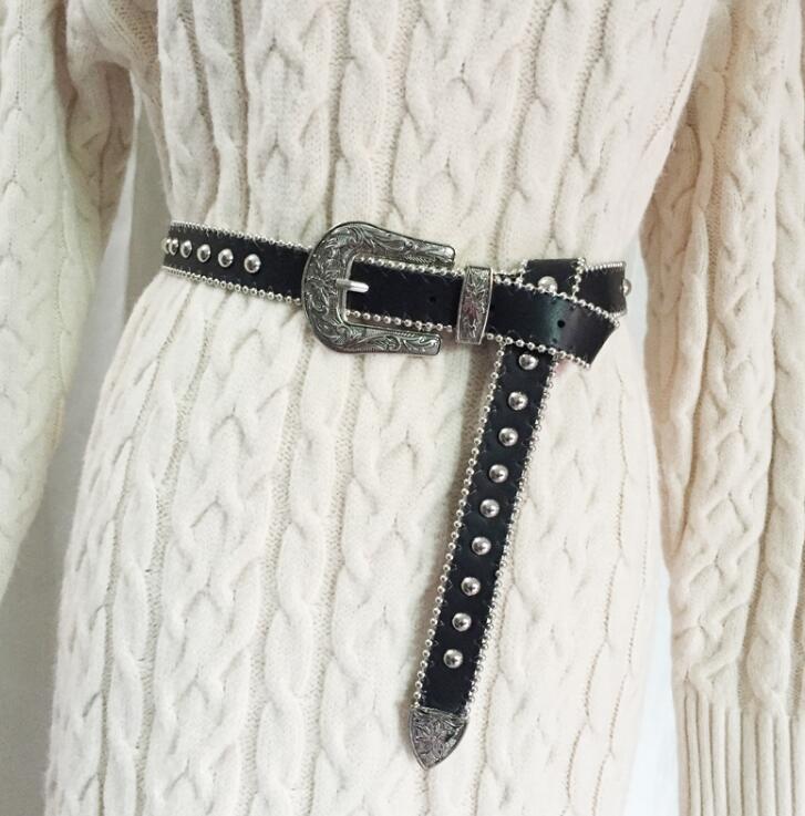 Women's Runway Fashion Star Rivet Pu Leather Cummerbunds Female Dress Corsets Waistband Belts Decoration Wide Belt R1552