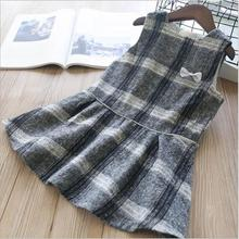 fall baby girl dress winter plaid bow princess little girls clothes sleeveless Kids Dresses korean Children Clothes new