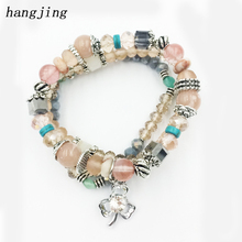 HANJING 3 pcs /set New Designer Crystal Bead Bracelets For Women Vintage Bracelet Female Jewelry Tassel Natural Stone