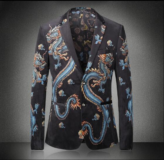 Nuevo Diseño Europeo de Impresión Dragón de la Manera de Los Hombres de Ocio Blazers Primavera y el Invierno de la Flor Masculina Juego Delgado Blazers