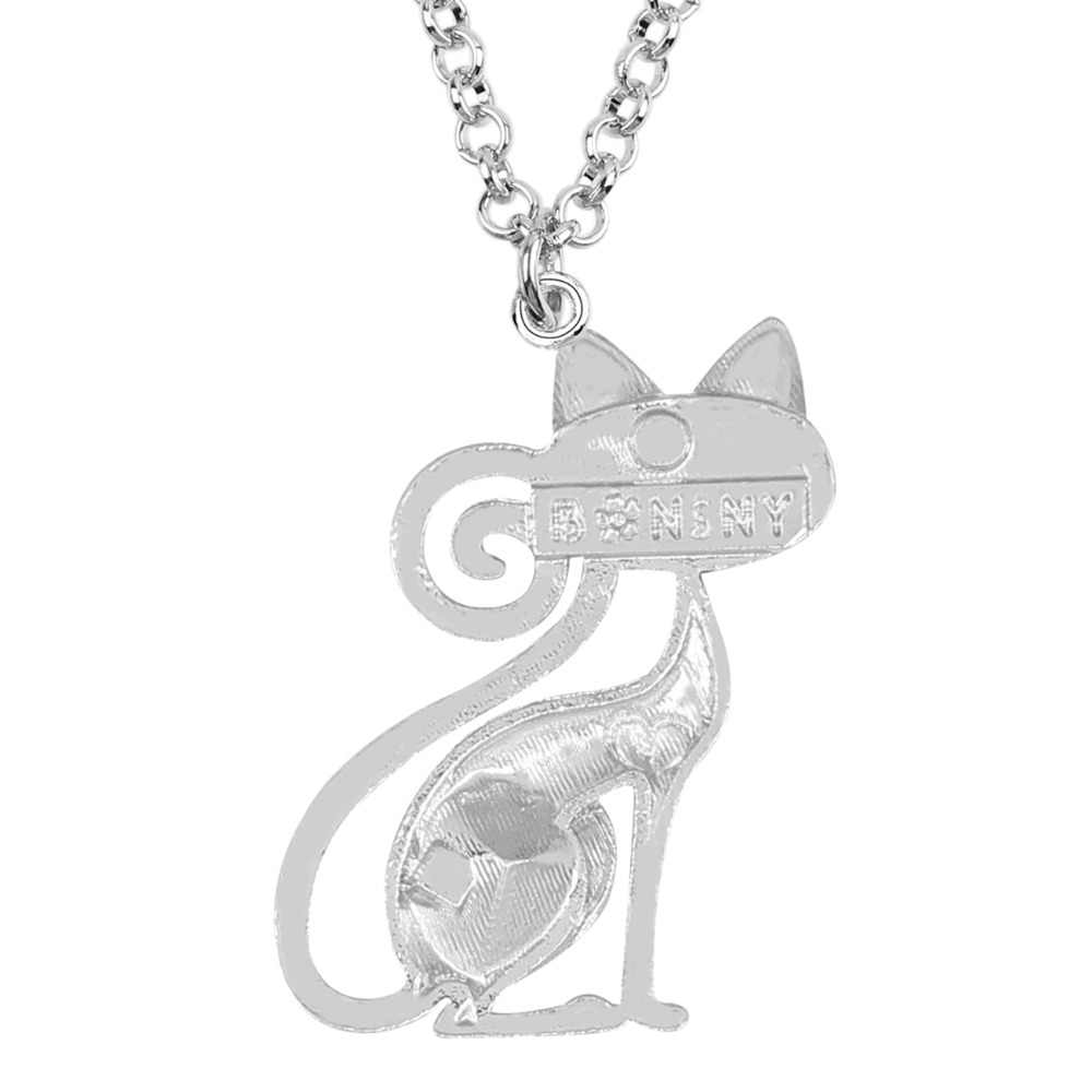 WEVENI エナメル合金ジルコンファッション猫子猫ネックレスペンダントチョーカーチェーン動物女性ガールペット愛好家ギフトビジュー