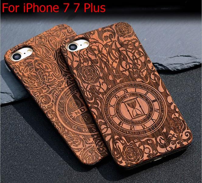 Přírodní retro dřevěné pouzdro pro iPhone 7 řezbářské - Příslušenství a náhradní díly pro mobilní telefony