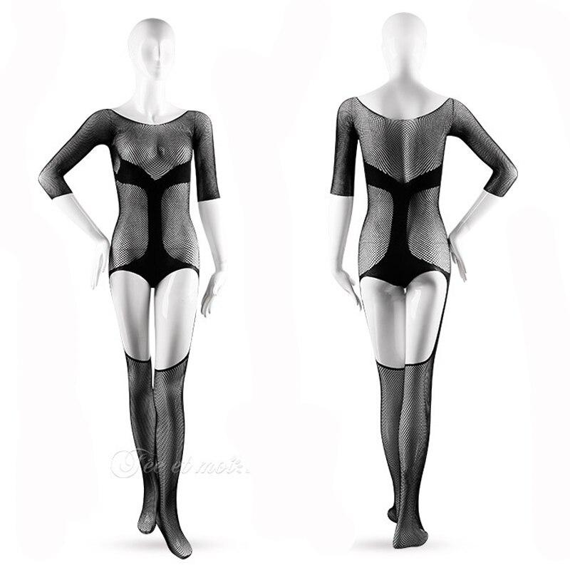 Black Velvet Hollow Out Bodystocking Lingerie Sexy Elastic Mesh Transparent Sexy Bodysuit Women Erotic Lingerie Body Stocking