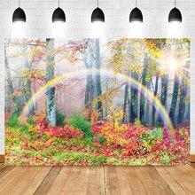 Mehofoto Rainbow Backdrop for Photography Birthday Forest Autumn Maple Leaf Background Studio Fantasy Backdrops Photocall
