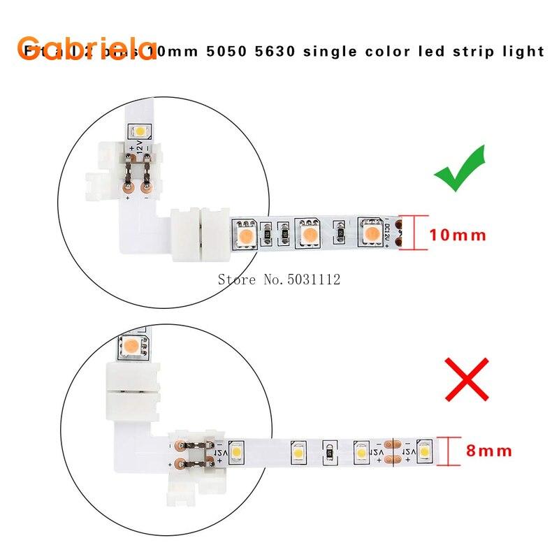 10 компл. l-образный светодиодный разъем 2 pin/3 pin/4 pin/5 pin solderless для 8 мм/10 мм/12 мм 5050/ws2811/ws2812b RGB/RGBW/WW SMD светодиодные ленты