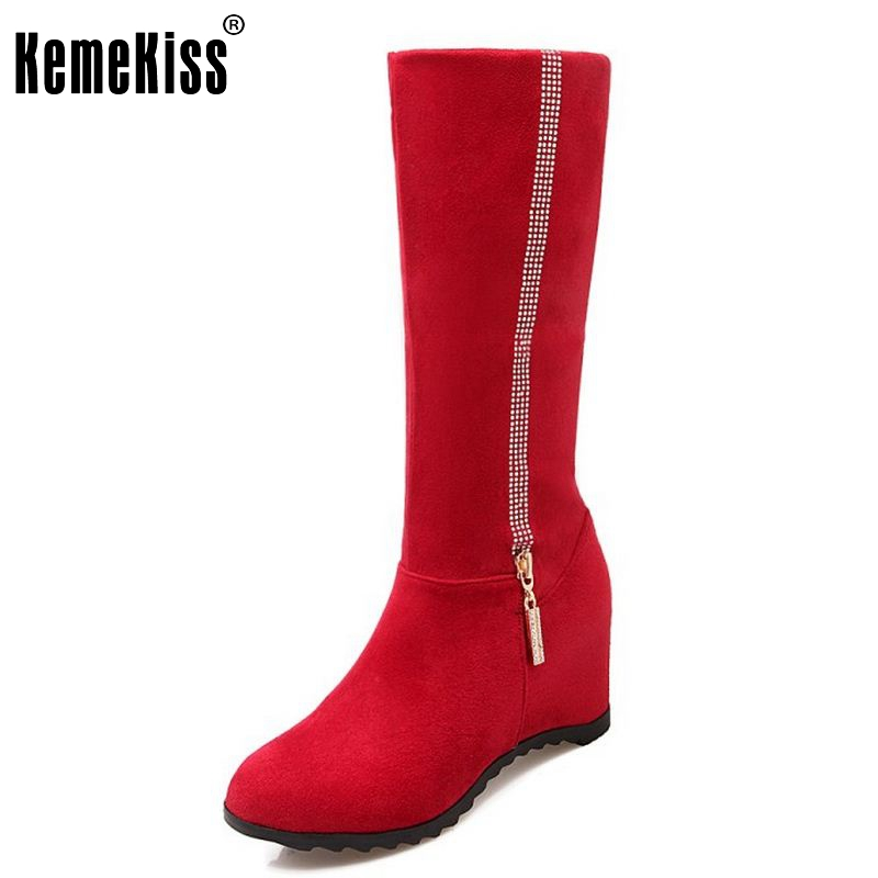 Women Weedding Boots Fashion Round Toe Half Knee Botas Lady Height Increasing Short Boots Winter Warm Footwear Size 34-43 large size 34 41 simple leisure height increasing round toe zip women boots winter genuine leather solid knee high boots