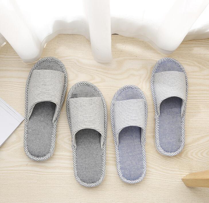 2019 Men Slippers B169 171 Slides Bottom Indoor Plush Flat Men Slippers Gray Brown Cotton Slippers