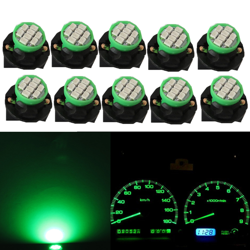 WLJH 10pcs T10 W5W 194 Wedge LED Light Bulb Car Dashboard Instrument Cluster Bulb Speedometer Odometer Dash Gauges Lighting