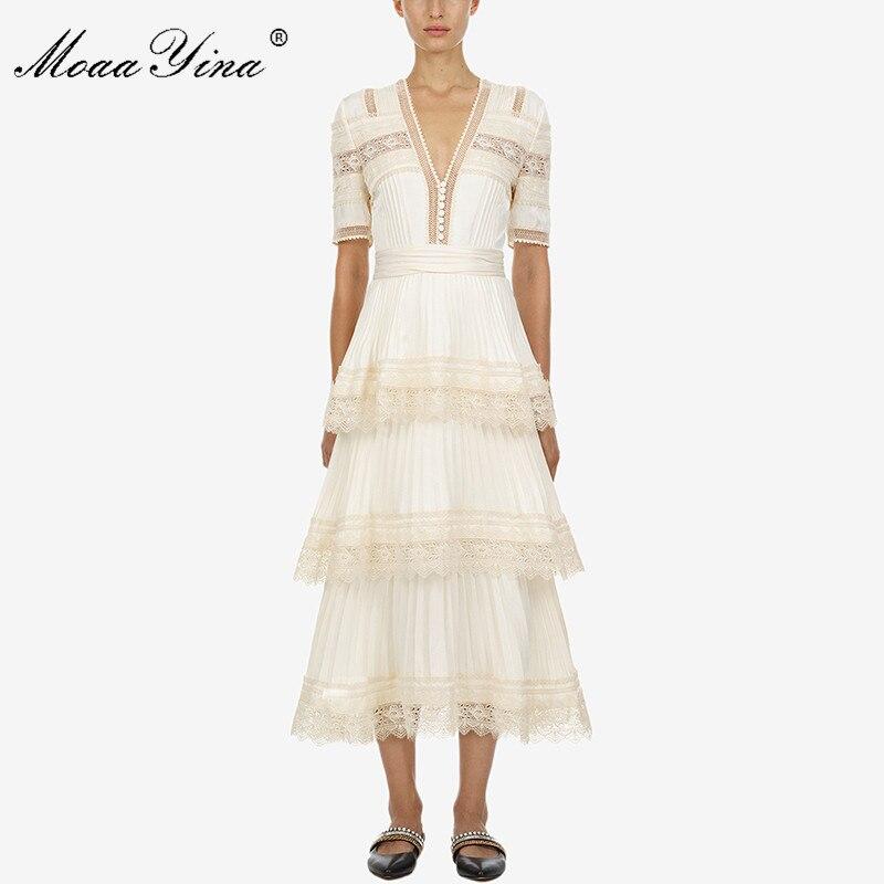 MoaaYina Courtes manches à Volants En Cascade Printemps Été Nouvelle arrivée beige longue robe profonde V dentelle robe de partie de femmes de haute qualité