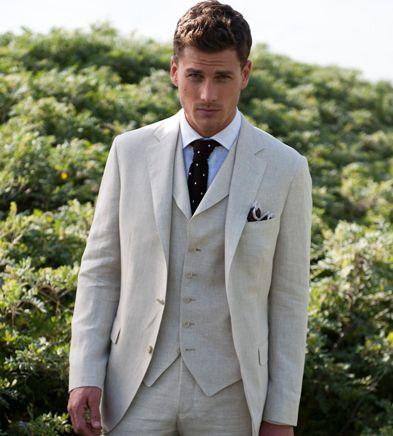 Legutóbbi kabát nadrág dizájn elefántcsont vászon nyári strand - Férfi ruházat