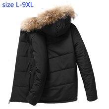 Новое поступление, Мужская стеганая куртка, зимний меховой воротник, плюс бархатная одежда, Красивая свободная Супер большая толстая куртка, размер L-5XL, 6XL7XL8XL