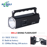100 meter diving led flashlight underwater light torch portable spotligh trechargeable led flashlights with battery cree xm l2