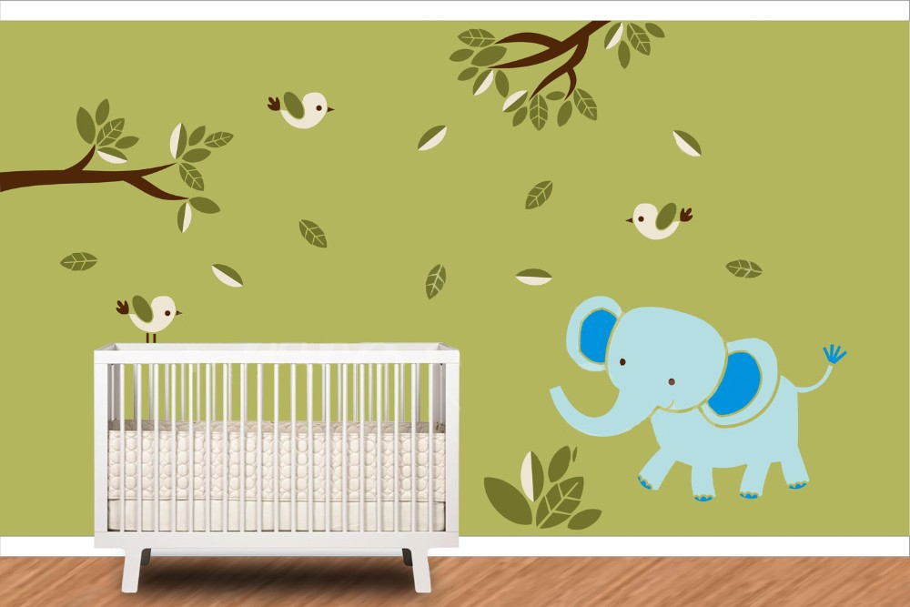 Aliexpress.com  Buy Elephant With Birds Wall Decal Tree Branches u0026 Leaves Jungle Vinyl Wall Stickers Kids Nursery Room Decor from Reliable vinyl wall ...  sc 1 st  AliExpress.com & Aliexpress.com : Buy Elephant With Birds Wall Decal Tree Branches ...