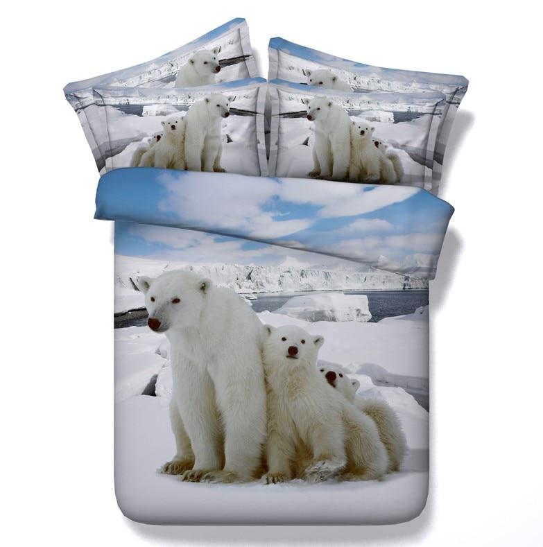 Comforter bedding sets 3D Polar Bear duvet cover bed in a bag sheet quilt bedspread Queen size King full twin linen 5PCS