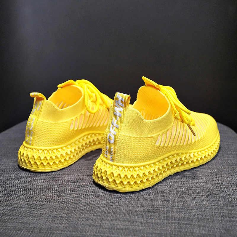 Damyuan 2019 Yeni Moda Klasik Ayakkabı Kadın Flyweather Rahat Nefes Olmayan deri Rahat Hafif Düz koşu ayakkabıları