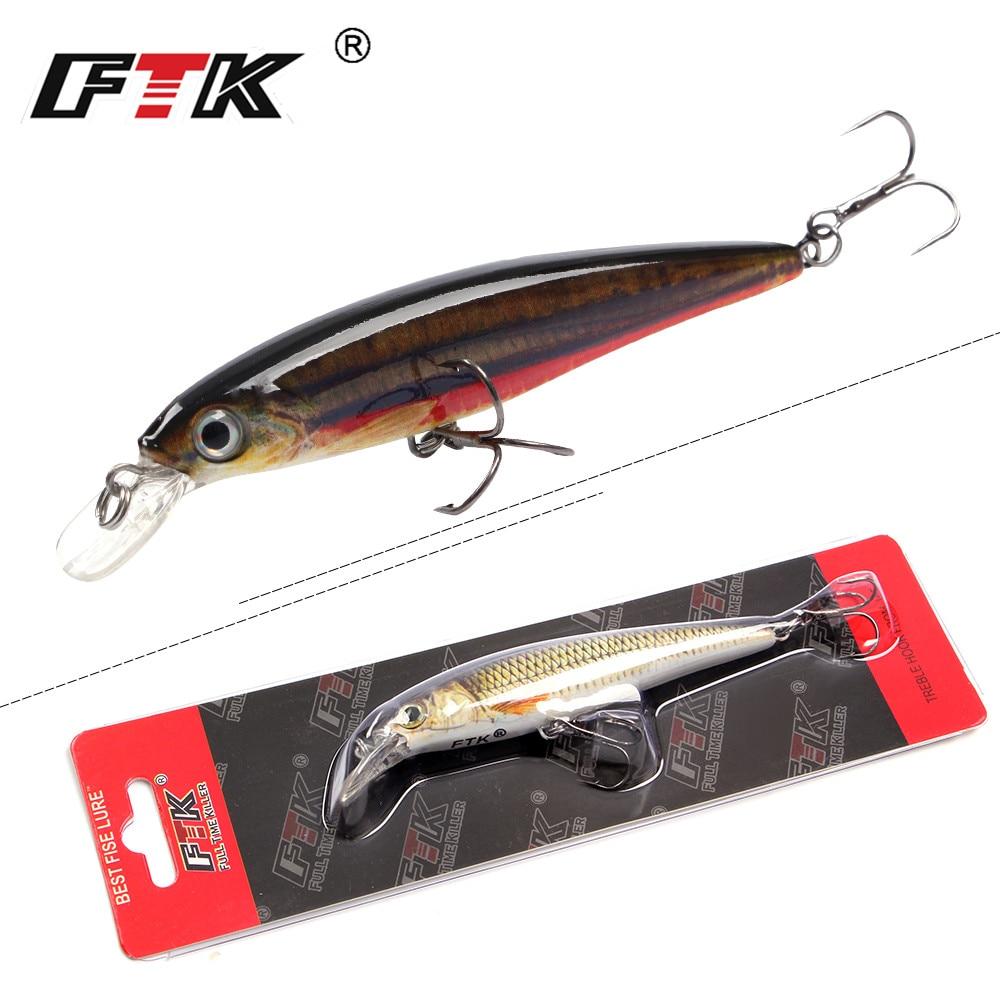 FTK 1PCS Minnow Fishing Lure Laser Hard Artificial Bait 12g/100mm Fishing Wobblers Crankbait Minnows 3D Eyes Fishing Tackle