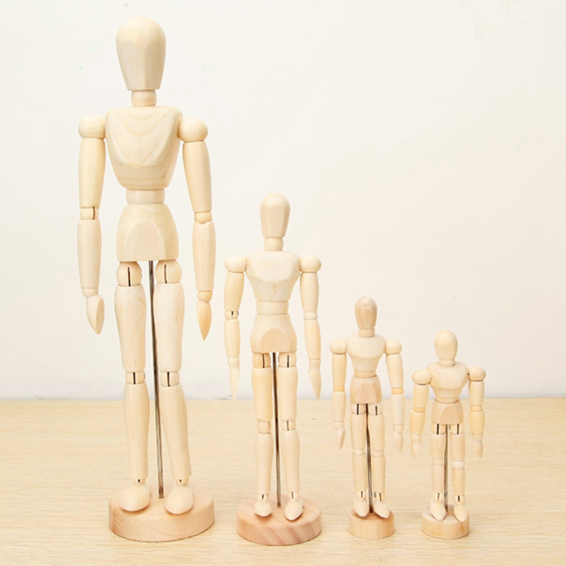 Brand New Wooden Jointed Doll Man Artist Figures Model Toys For Children Painting Sketch Cartoon Blockhead Model Puppet 4 Sizes