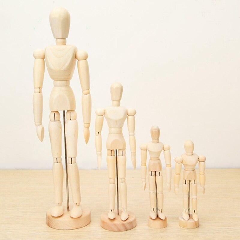 Nueva muñeca articulada de madera hombre artista figuras en miniatura de juguete para niños bosquejo de pintura dibujos animados Blockhead marioneta modelo 4 tamaños
