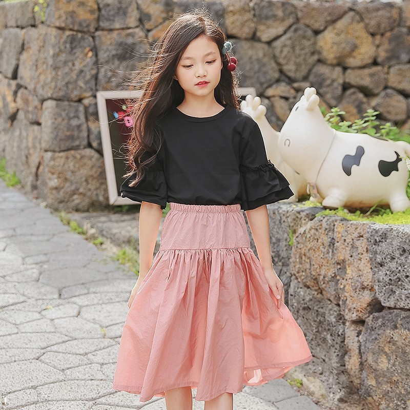 cotton kids teens clothes girls skirts set spring summer 2018 children clothing sets kids skirt and top baby girl clothing