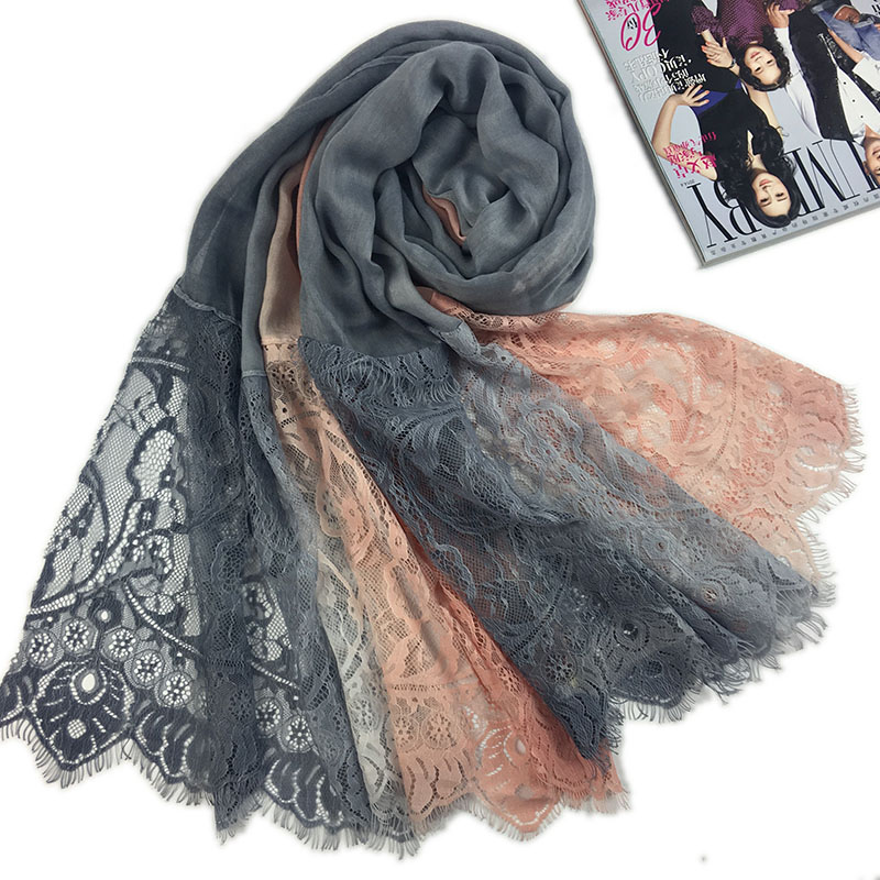 High quality ombre lace hijab scarf soft cotton headband scarves shawls islamic warps long maxi muslim