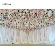 Laeacco Wedding Flower Backdrops Rose Tassel Stage Bridal Curtain Baby Portrait Photographic Backgrounds Photocall Photo Studio