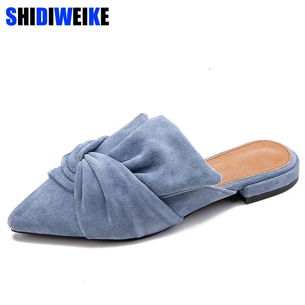 f27b19777c6 Elegante del dedo del pie puntiagudo zapatos planos zapatos de mujer azul  pajarita de las mujeres planos de las mujeres de moda Slip on zapatos de  las ...