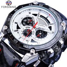 Forsining Automatic Mens Watch Red Pointer Mechanical Date Stainless Steel Genuine Black Leather Sport Timing Waterproof Watches 2017 limited carnival male watch thin fully automatic mechanical black stainless steel mens genuine leather waterproof casual