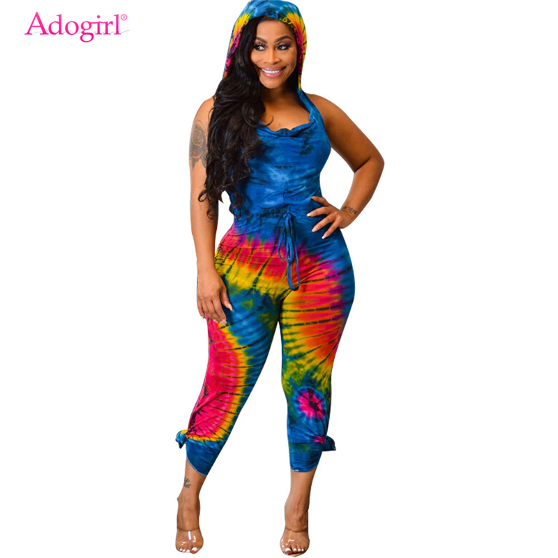 Adogirl Tie Dye Print Sexy Backless Hooded Jumpsuit Draped V Neck Sleeveless Slim Women Romper Fashion Casual Overalls Playsuit