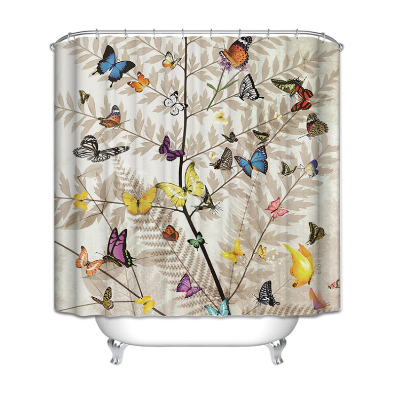 butterfly small fish lighthouse polyester shower curtain bathroom products and
