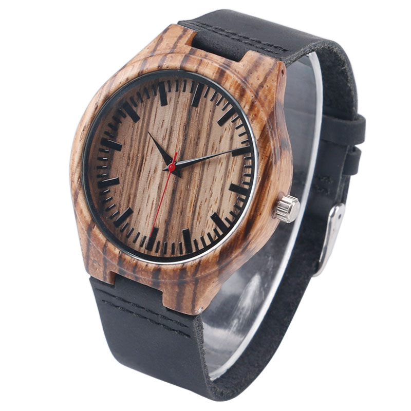 Festival Memorial Day Gift Natural Stripe Bamboo Wristwatch Work of Art Handmade Natural Wood Quartz Watches Men Women