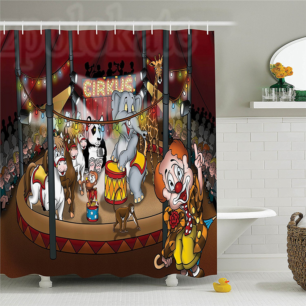 Circus Decor Shower Curtain Set Circus Show Horses Elephants Monkey Panda Lights Cartoon Illustration Art Bathroom Accessories