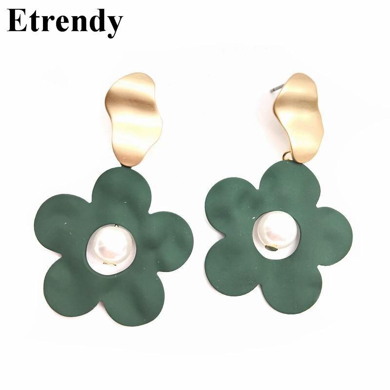 2019 Flower Drop Earrings For Women Korean Earring Trendy Jewelry Wholesale Red Green Black in Drop Earrings from Jewelry Accessories