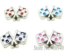 "10PCS!! 8MM "" Flag"" Floating charms Mix Color Zinc Alloy Fit Floating lockets & Floating locket bracelet LSFC028*10(China)"