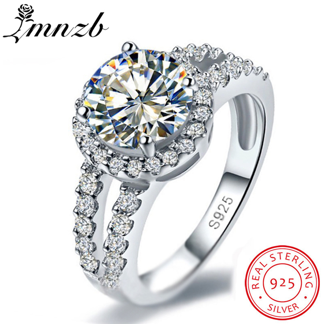 Lmnzb Fine Jewelry Band Ring 925 Solid Silver Wedding Rings For Women